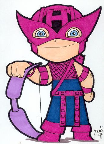 Chibi-Hawkeye. by hedbonstudios