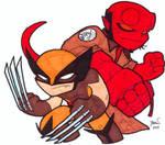 Chibi-Hellboy and Wolverine.