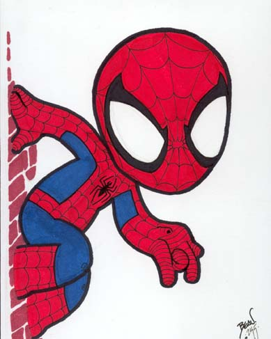Chibi spider man 6 by hedbonstudios on deviantart for Baby spiderman coloring pages