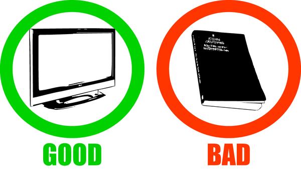 tv good book bad t shirt by godemperorofhell on deviantart. Black Bedroom Furniture Sets. Home Design Ideas