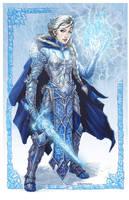 Elsa from Disney's Frozen donning battle armor by ZFischerillustrator