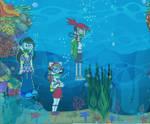 frankie foster,olivia and friend scuba underwater