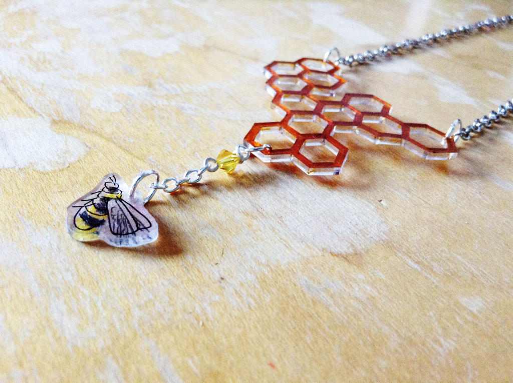 Honeycomb and Bee Necklace - Elementary Inspired by dragonlover-samantha