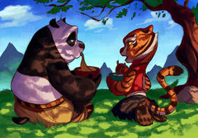 Po and Tigress having lunch