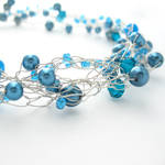 Blue and Silver Wire Crochet Necklace by MoonlightCraft