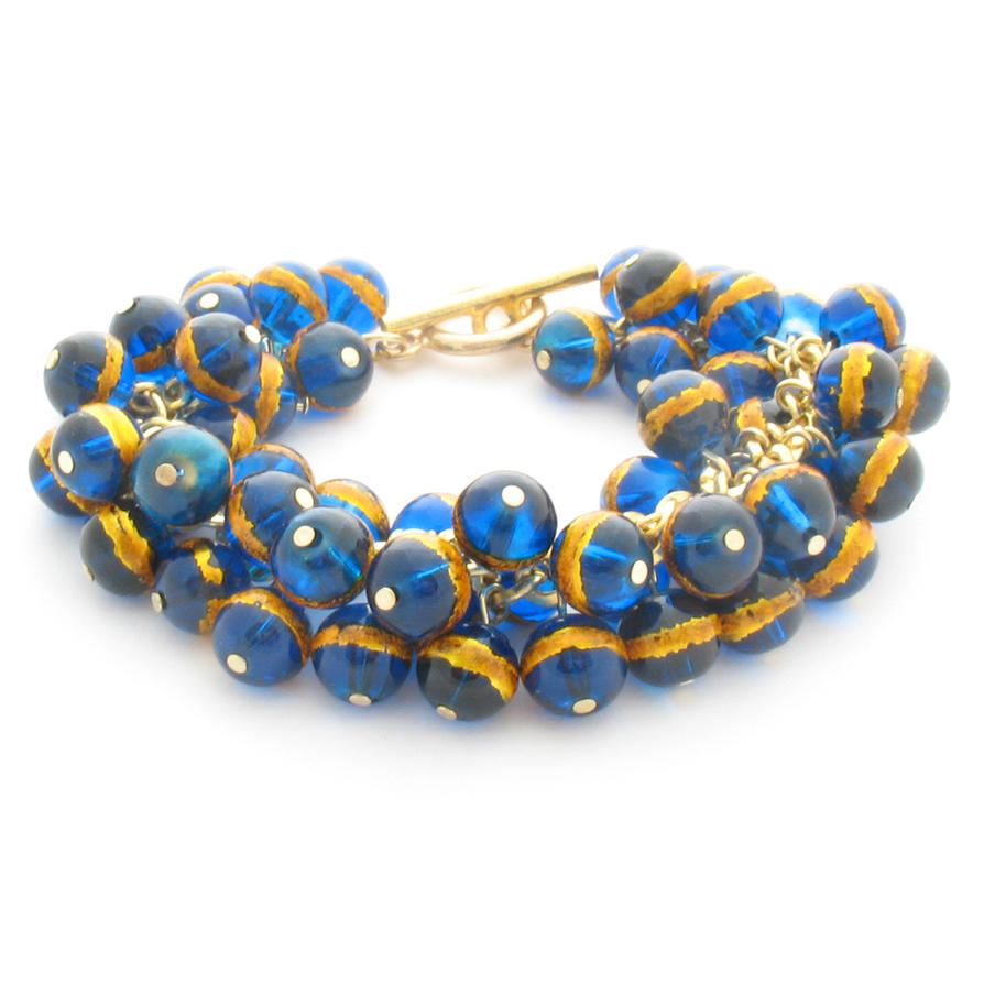 Chunky Cluster Bracelet With Blue and Gold Beads by MoonlightCraft