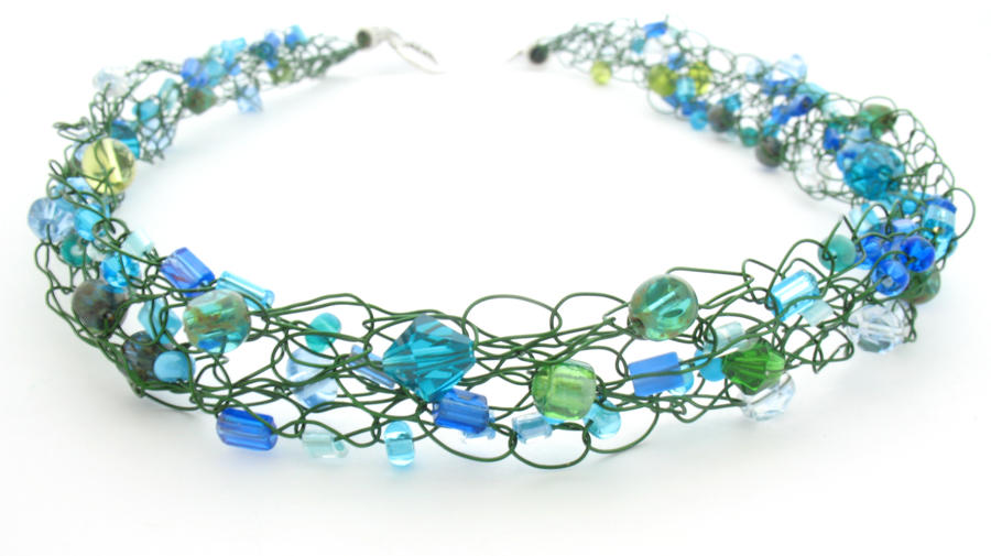 Green and Blue Wire Crochet Beaded Necklace by MoonlightCraft on ...
