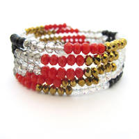 Red, Black, and Gold Memory Wire Wrap Bracelet by MoonlightCraft