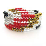 Red, Black, and Gold Memory Wire Wrap Bracelet