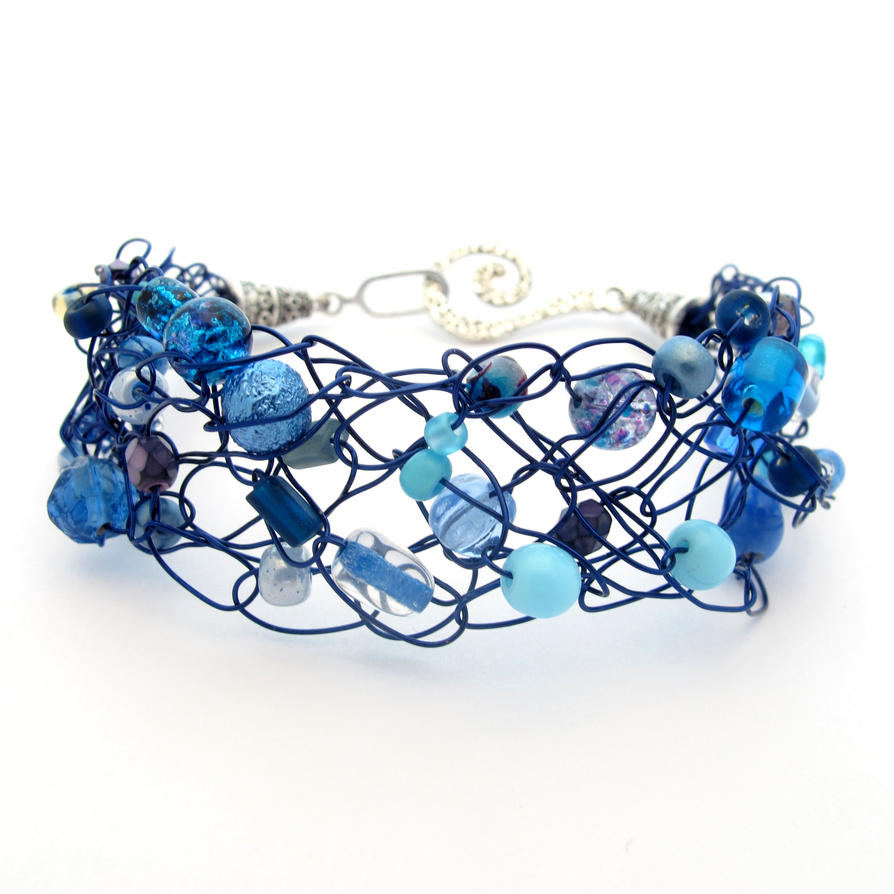 Navy Blue Crochet Wire Beaded Bracelet by MoonlightCraft on DeviantArt