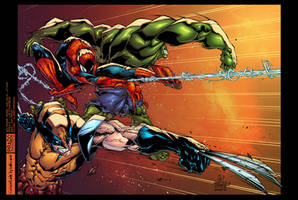 Wolverine, Spidy and Hulk... Attack by AlonsoEspinoza