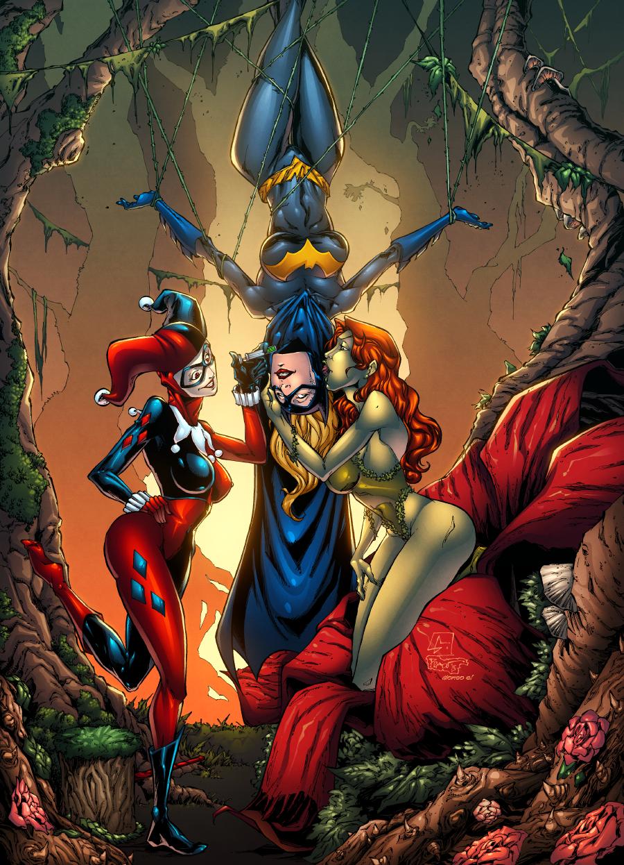 Batgirl, Poison Ivy and Harley Quinn by AlonsoEspinoza