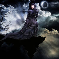 Gothic Victorian Lady on the rocks - manipulation by PicsmadebyCarin