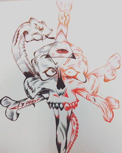 Skull drawing  by DrumArt