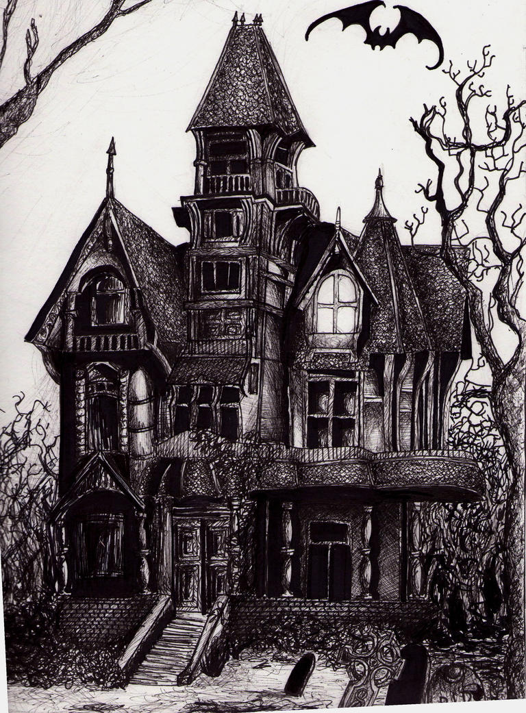 Haunted mansion by dark drac on deviantart for Drawings of a house