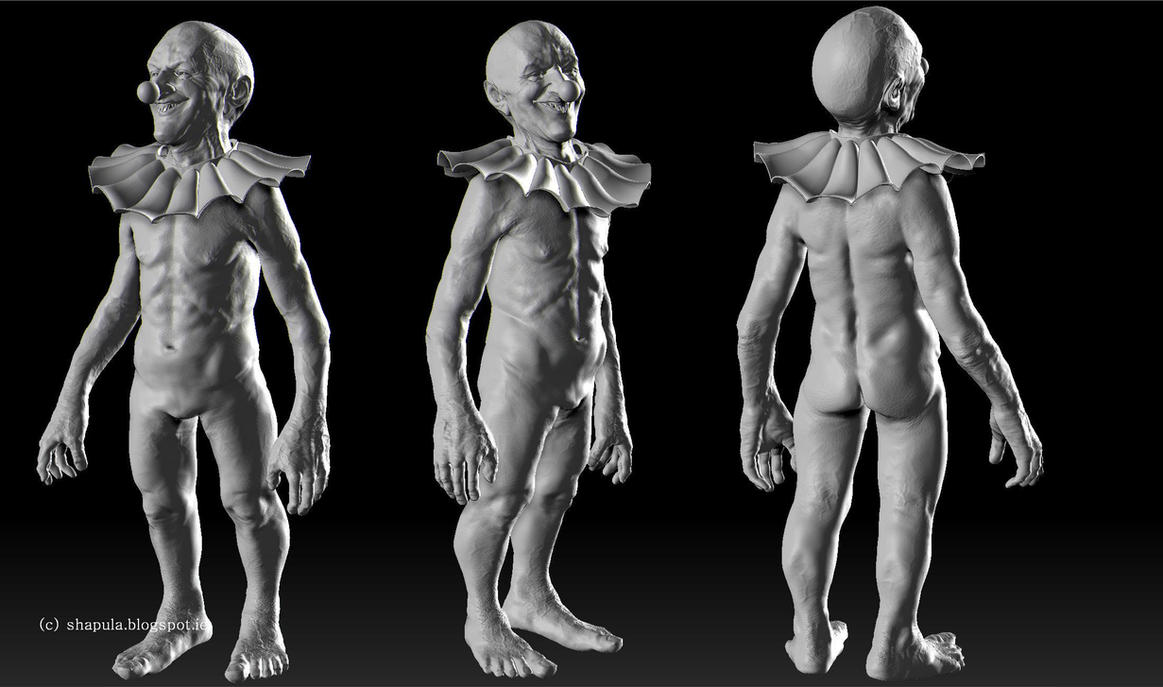 Zbrush WIP - Blue Nose the Midget Clown by Shapula
