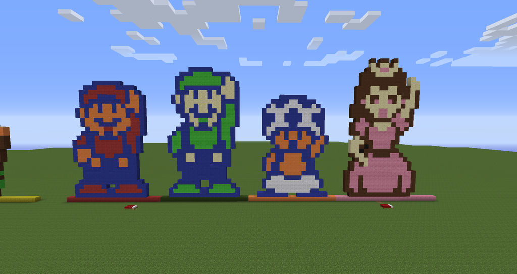 Minecraft Pixel Art Mario Luigi Toad And Peach By