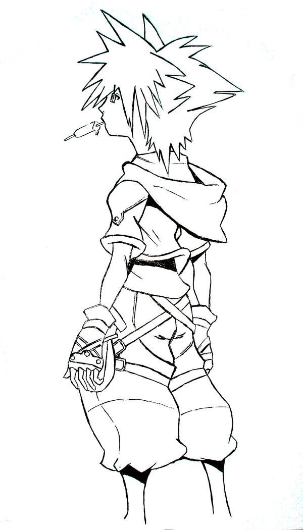 Kingdom Hearts Lineart : Sora kingdom hearts by dan on deviantart