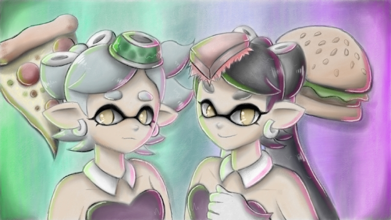 Callie And Marie Wallpaper: Callie And Marie (Splatfest) By Crunchaw On DeviantArt