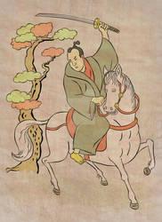 Samurai warrior on horse back