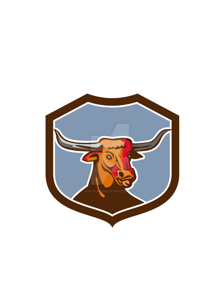 Texas Longhorn Red Bull Shield Retro by apatrimonio