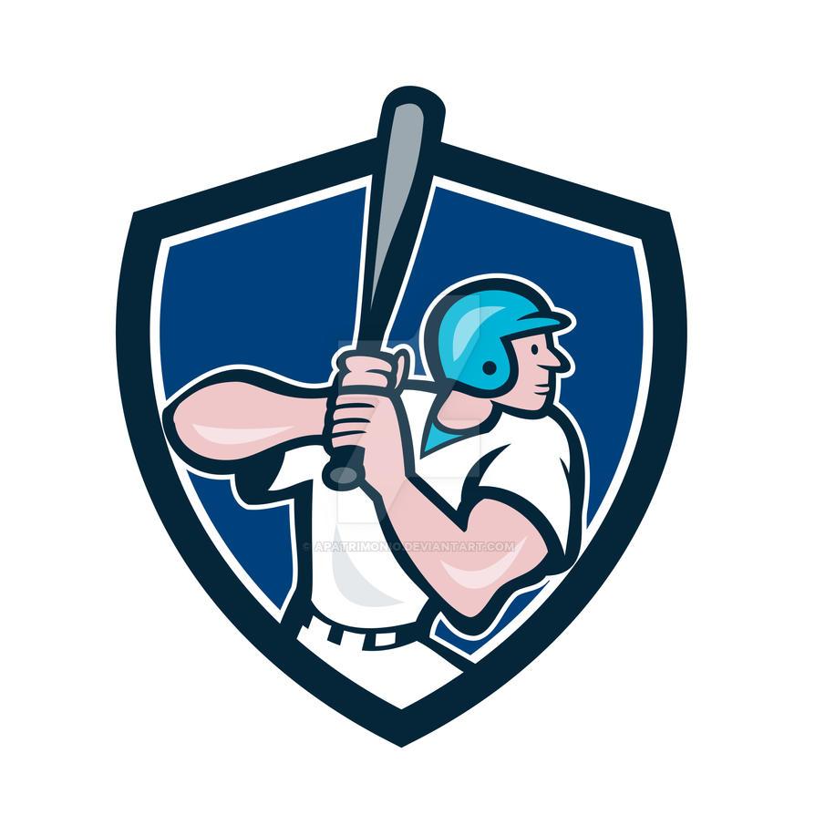 Baseball Player Batting Shield Cartoon by apatrimonio