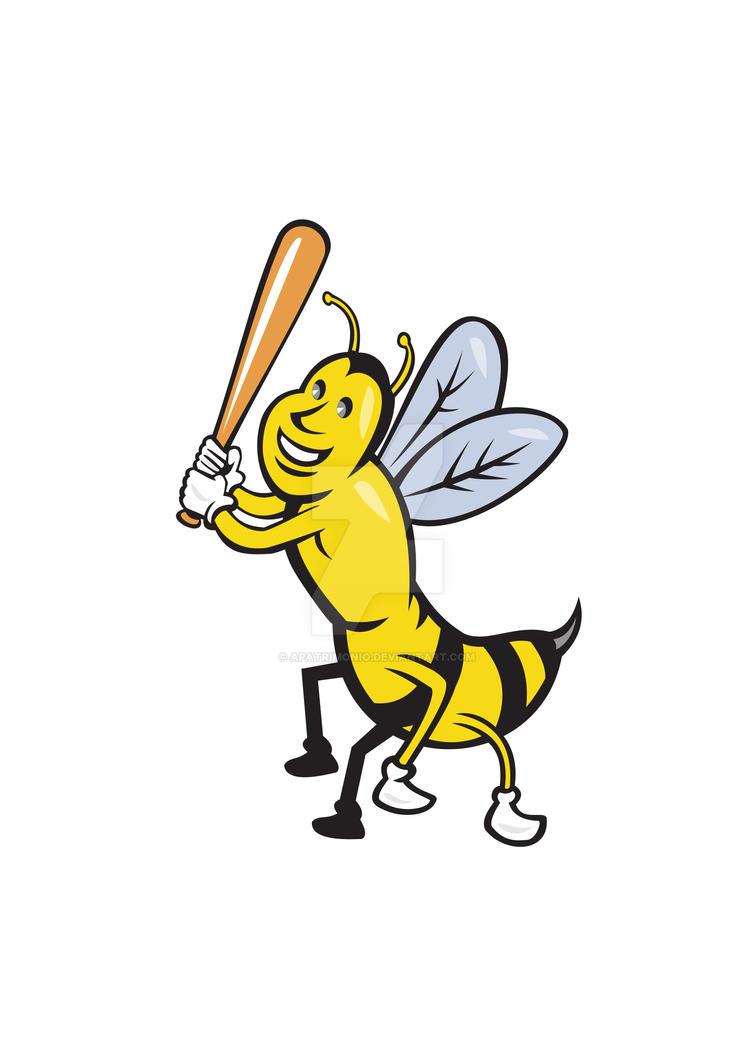 Killer Bee Baseball Player Batting Isolated Cartoo by apatrimonio