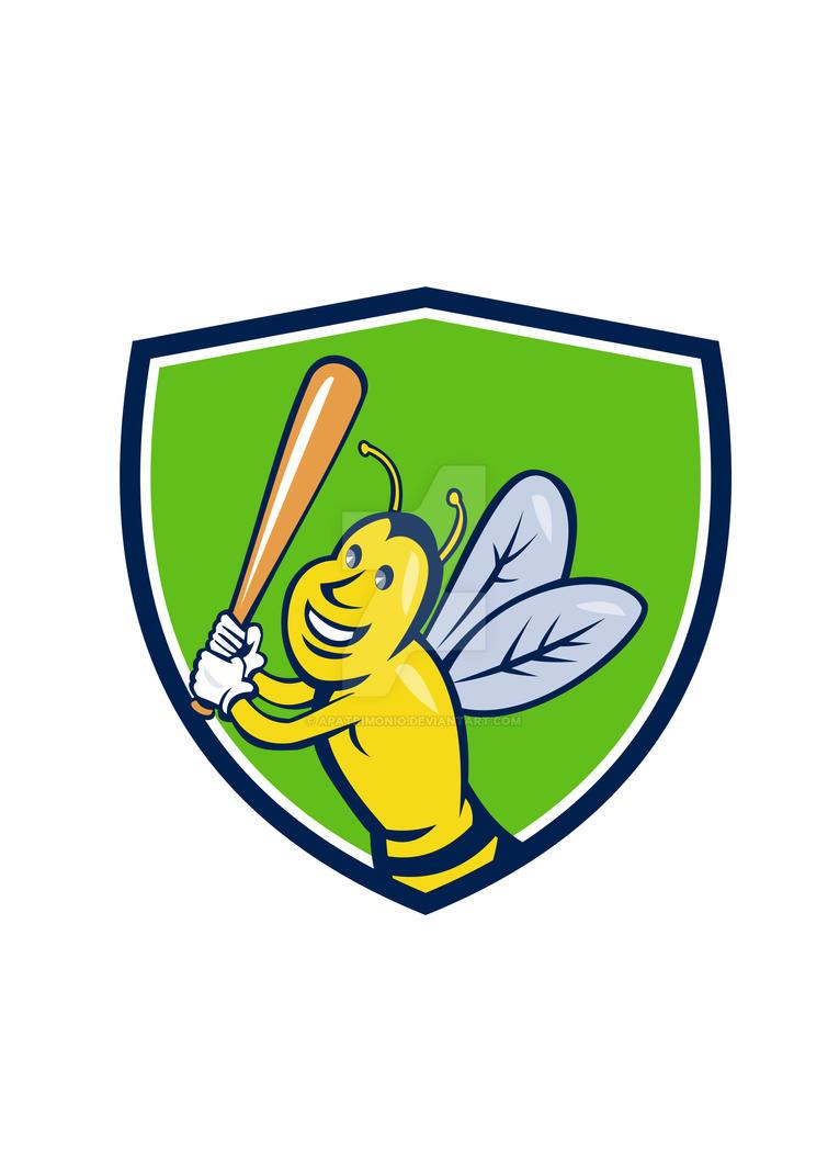 Killer Bee Baseball Player Batting Crest Cartoon by apatrimonio