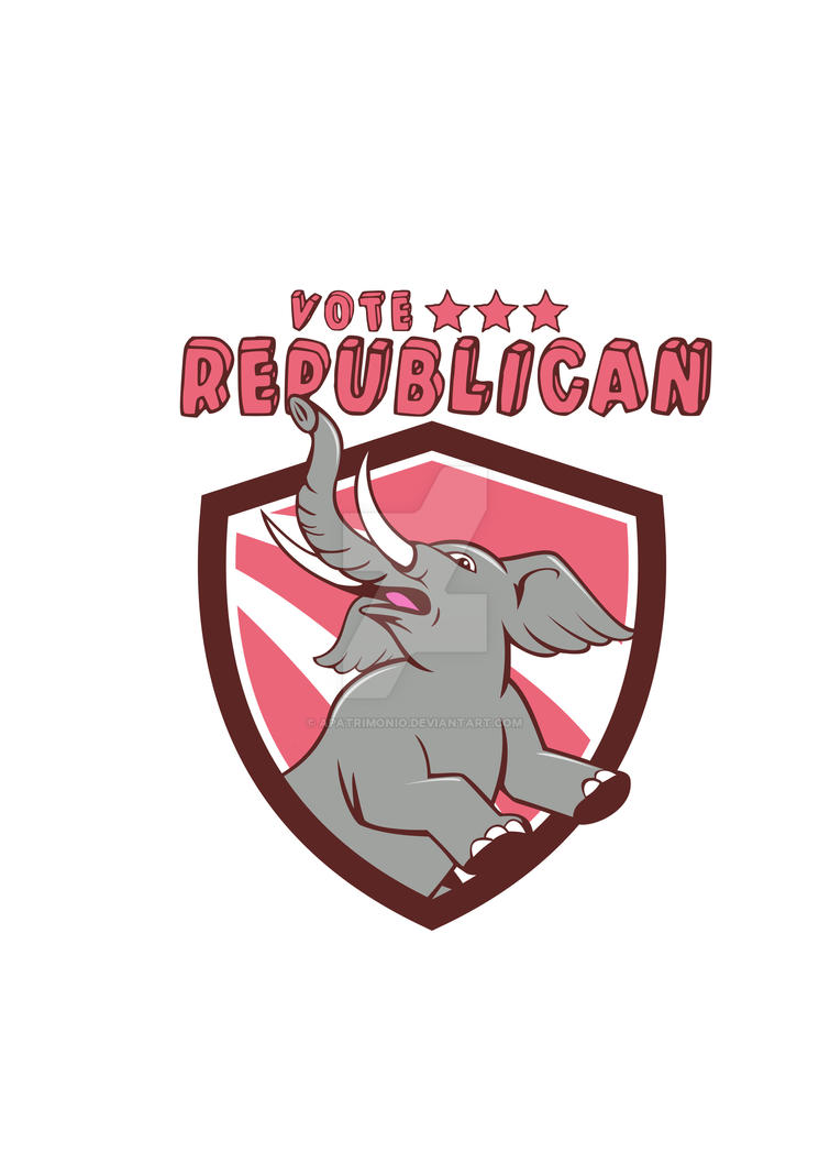 Vote Republican Elephant Mascot Shield Cartoon by apatrimonio