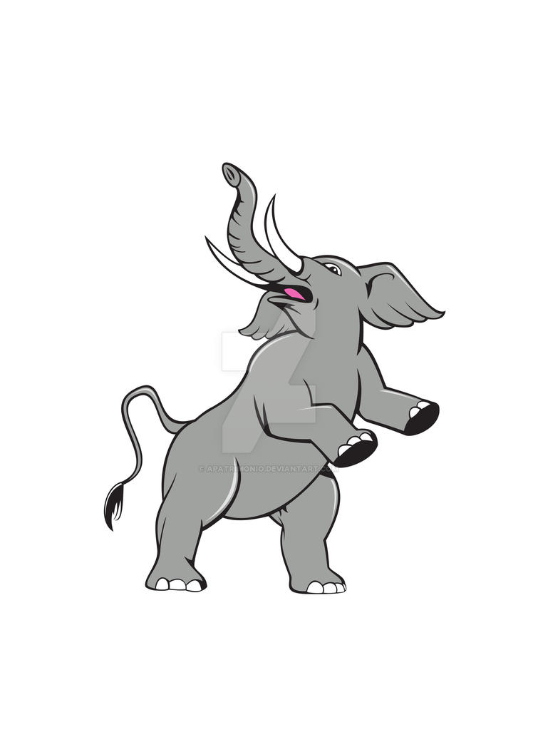Elephant Prancing Isolated Cartoon by apatrimonio
