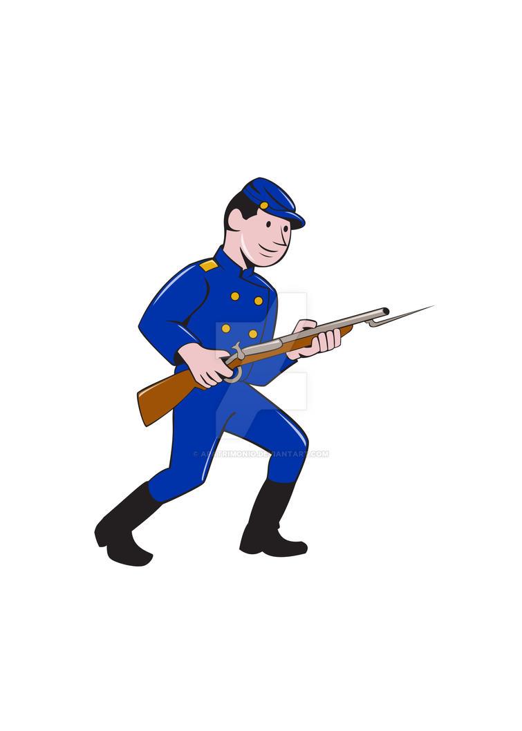 Union Army Soldier Bayonet Rifle Cartoon by apatrimonio
