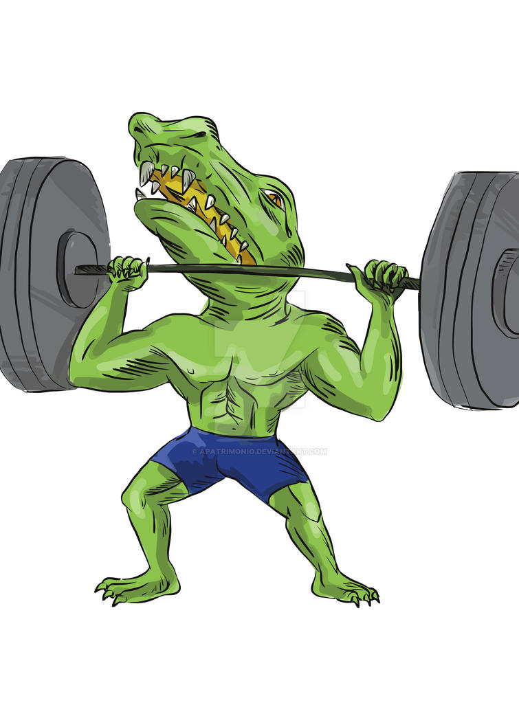 Sobek Weightlifter Lifting Barbell Caricature by apatrimonio