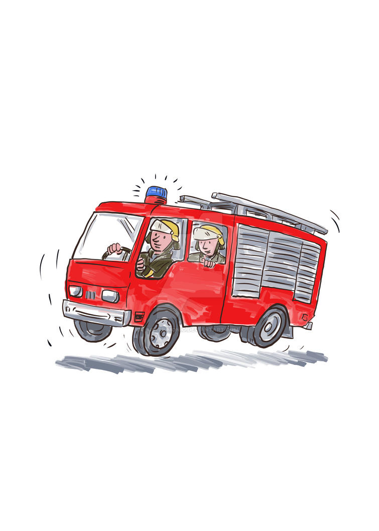 Red Fire Truck Fireman Caricature by apatrimonio