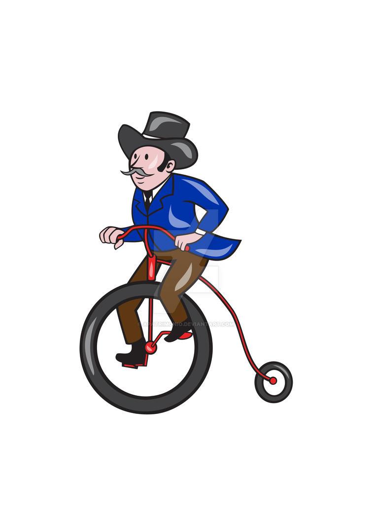 Gentleman Riding Penny-farthing Cartoon by apatrimonio