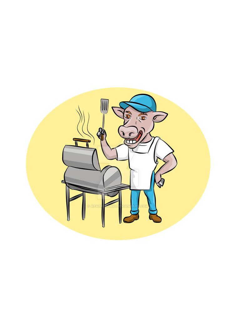 Cow Barbecue Chef Smoker Oval Cartoon by apatrimonio