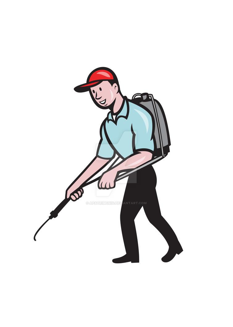 Pest Control Exterminator Spraying Cartoon by apatrimonio