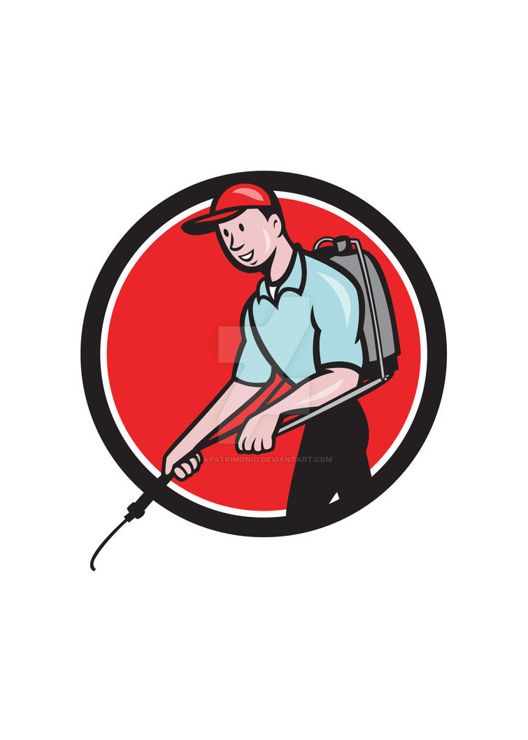 Pest Control Exterminator Spraying Circle Cartoon by apatrimonio