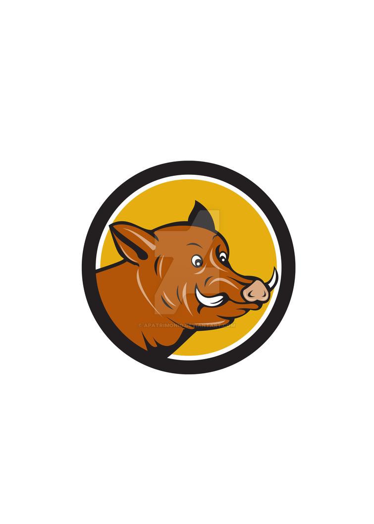 Wild Boar Razorback Head Startled Circle Cartoon by apatrimonio