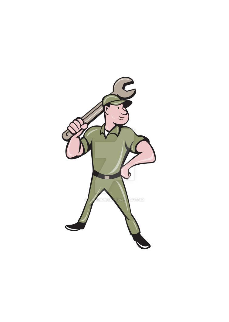 Mechanic Wielding Spanner Cartoon by apatrimonio