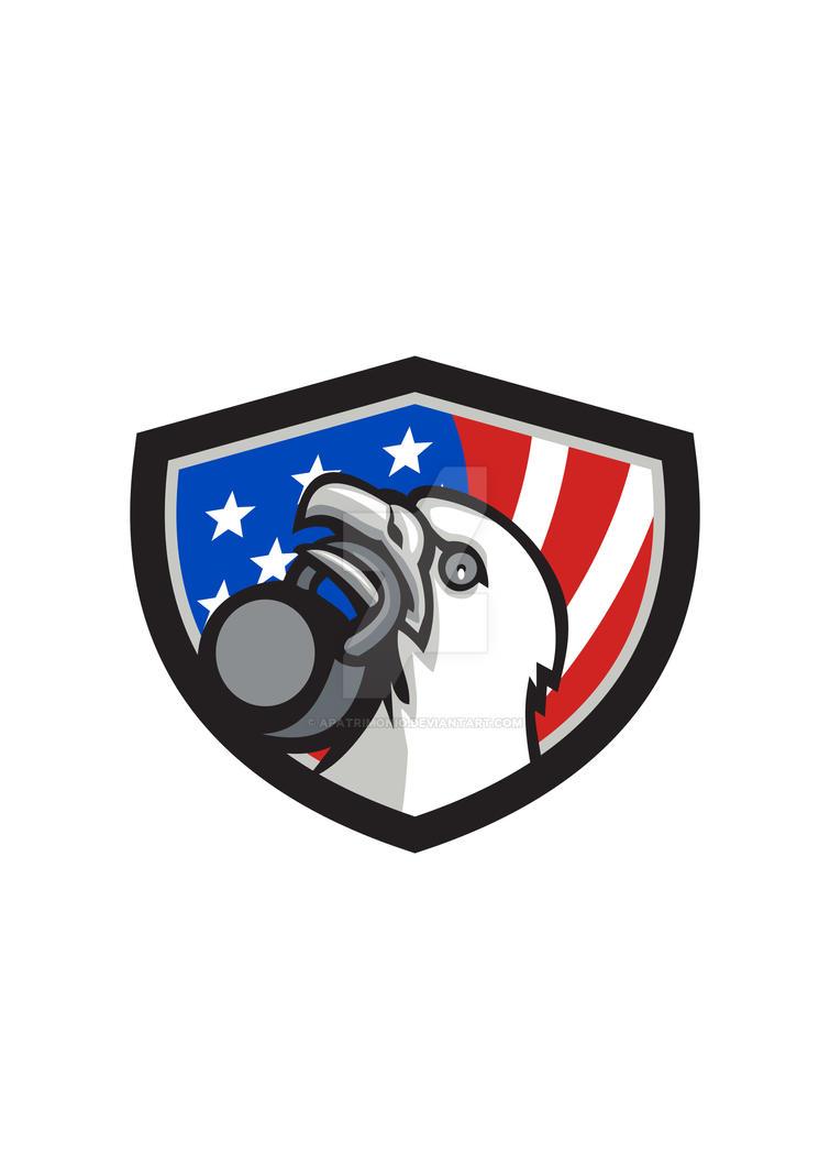 Bald Eagle Lifting Kettleball USA Flag Shield Retr by apatrimonio