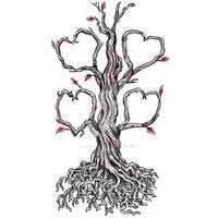 Twisted Oak Tree Heart Branch Tattoo