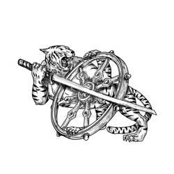Tiger With Katana and Dharma Wheel Tattoo