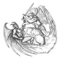 Angel Fighting Demon over Earth World Tattoo