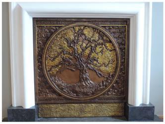 Oak Tree Fireplace Panel (detail1)