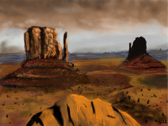 Desert Landscape Speedpaint by TheLittlePsycho