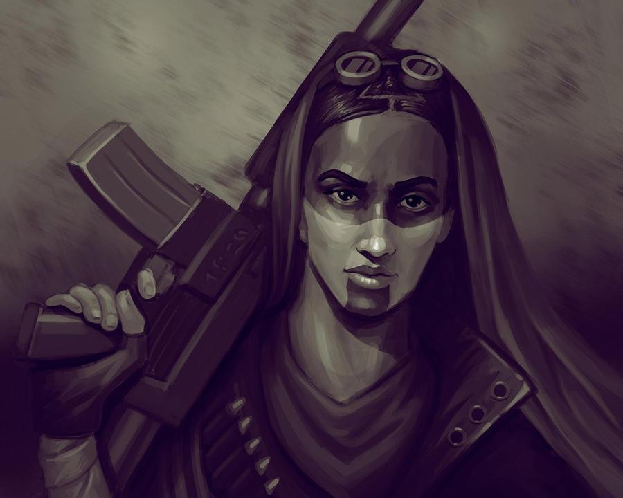 Sketch woman desert warrior by TanyaPaulik