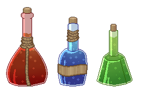 [Skyrim]pixel potions by mintpencil