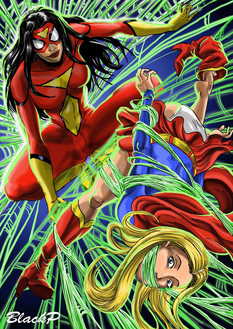 Spiderwoman VS Supergirl by BlackProf