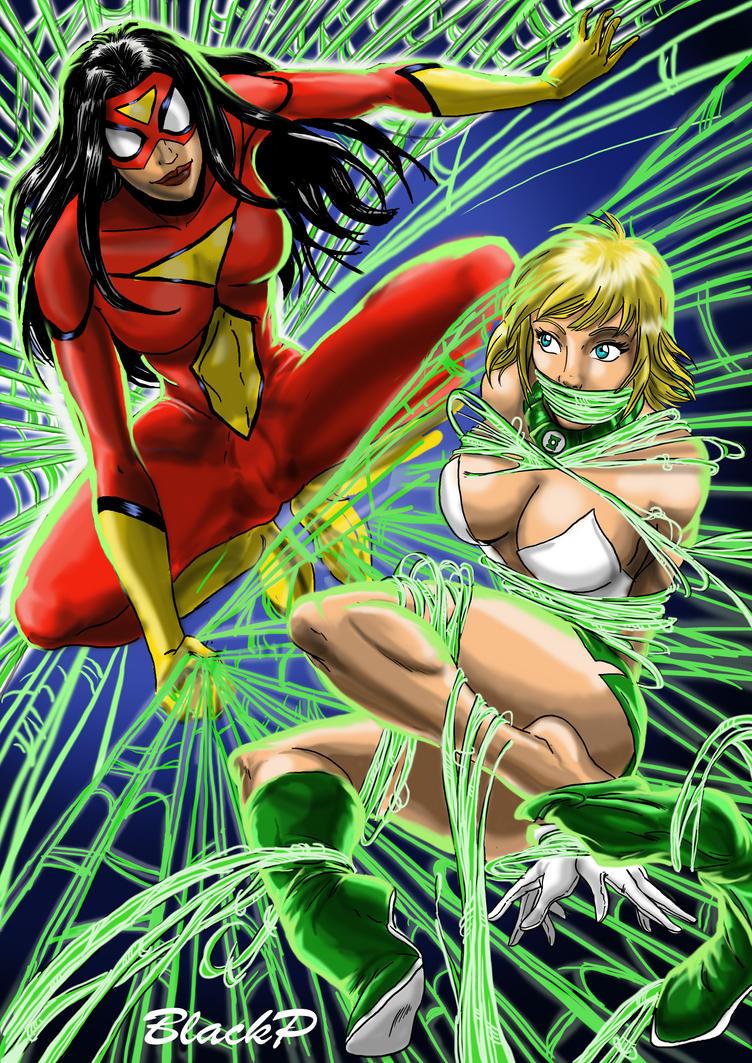 Spiderwoman vs Arisia by BlackProf