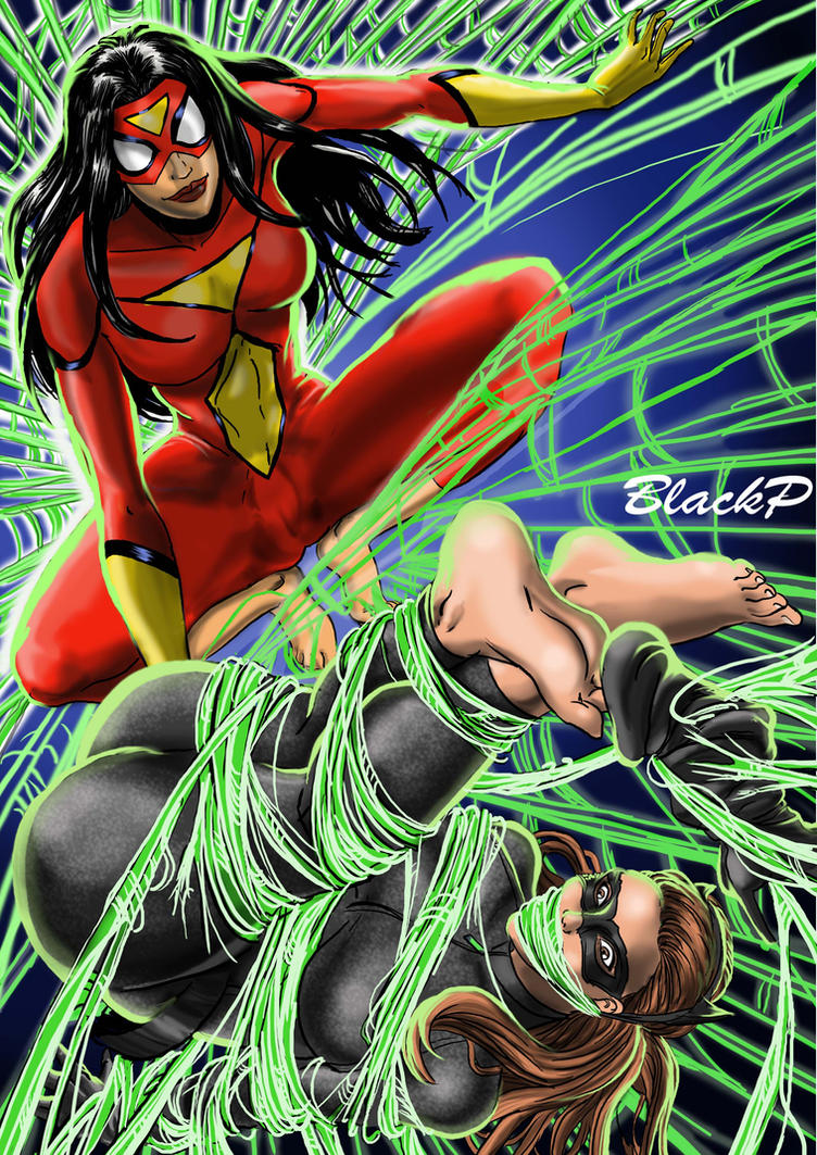Spiderwoman vs Catwoman by BlackProf